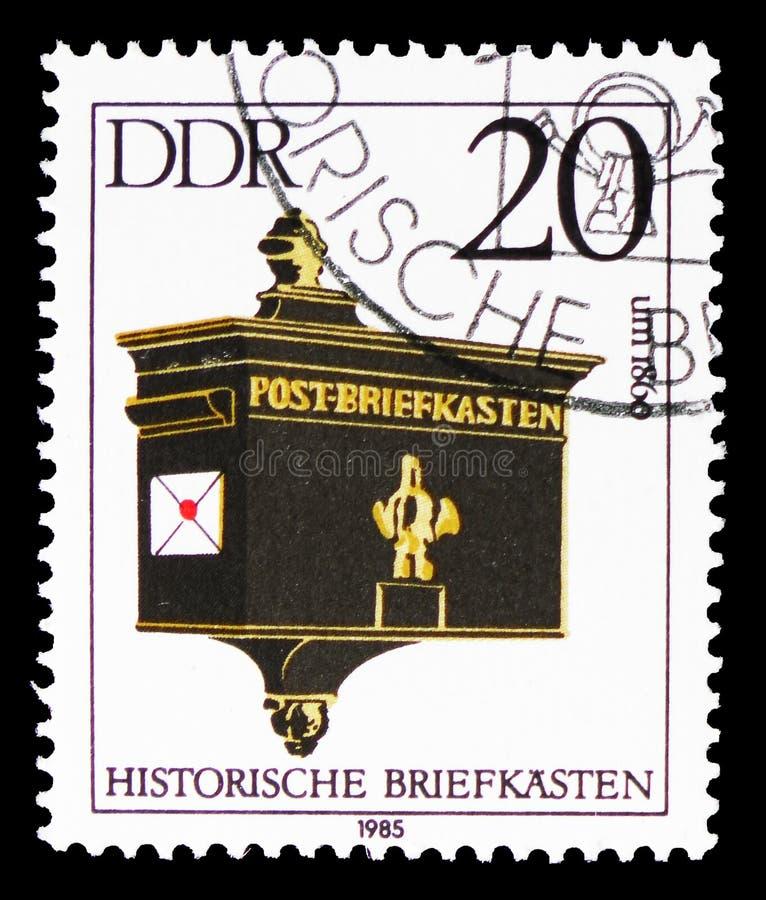 Boîte aux lettres, environ 1860, serie historique de boîtes aux lettres, vers 1985 illustration de vecteur