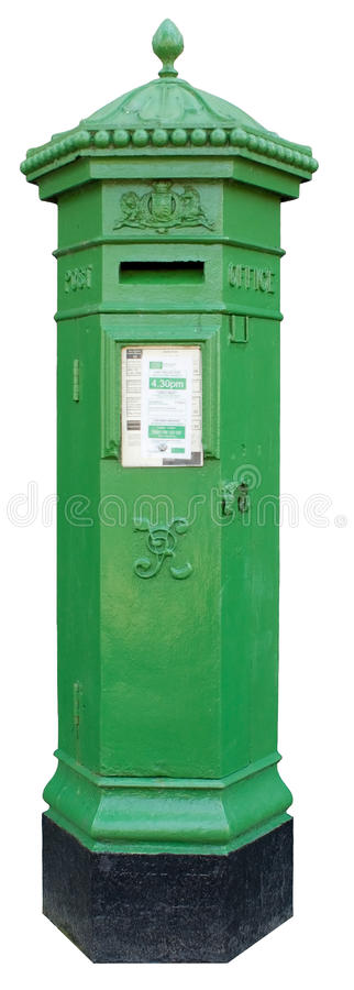 Boîte aux lettres irlandaise verte d'isolement image libre de droits