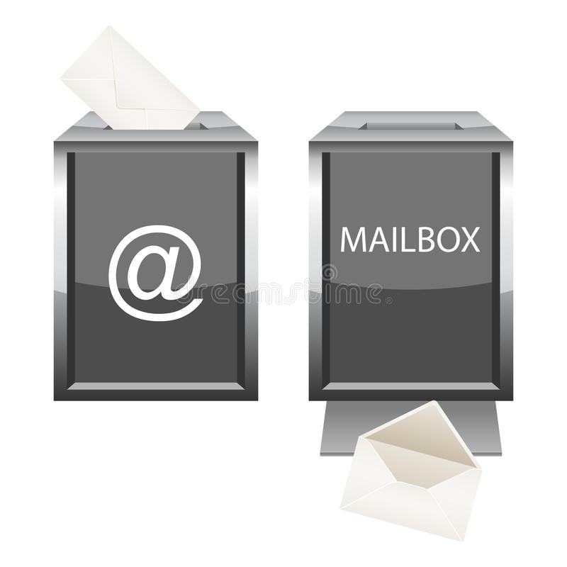 Boîte aux lettres lustrée avec l'enveloppe pour votre conception illustration stock