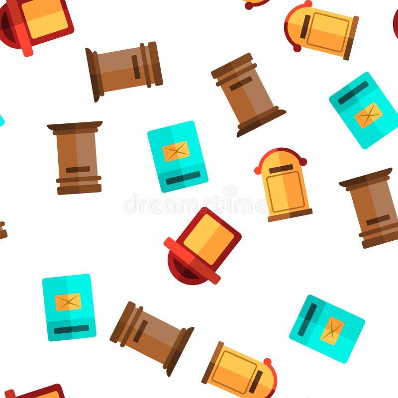 Boîte aux lettres, modèle sans couture de vecteur linéaire et plat de courrier illustration de vecteur