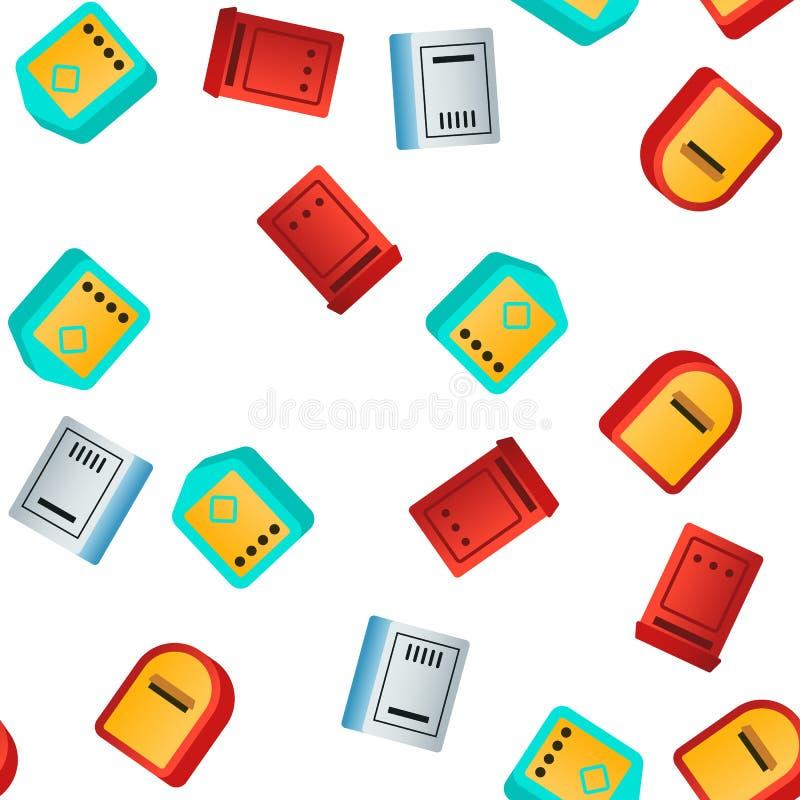 Boîte aux lettres, modèle sans couture de vecteur linéaire et plat de courrier illustration stock