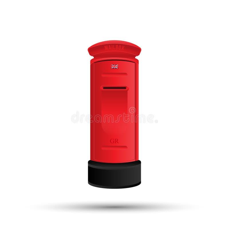 Boîte aux lettres rouge anglaise pour l'affranchissement Illustration de vecteur d'isolement sur le fond blanc EPS10 illustration libre de droits
