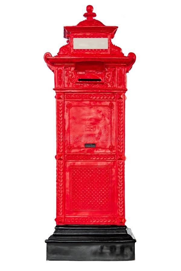 Boîte aux lettres rouge antique d'isolement de courrier images stock