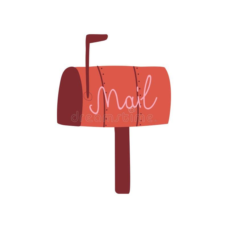 Boîte aux lettres rouge, illustration de vecteur de boîte postale illustration stock