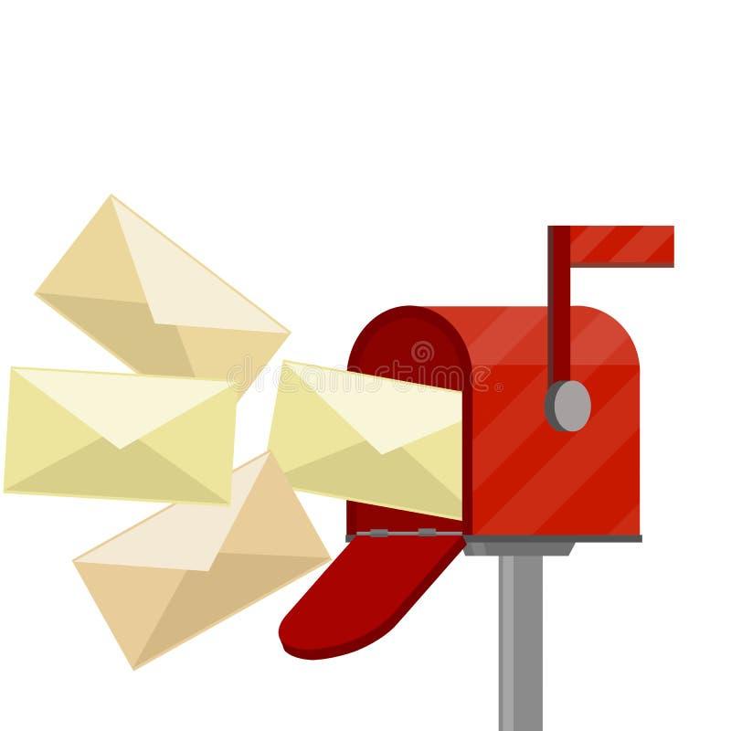 Boîte aux lettres rouge Illustration plate de bande dessinée illustration de vecteur