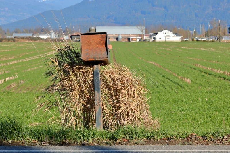 Boîte aux lettres rurale rustique avec le paysage de pays photos libres de droits