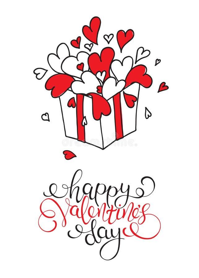 Boîte avec des coeurs Jour heureux du `s de Valentine illustration stock