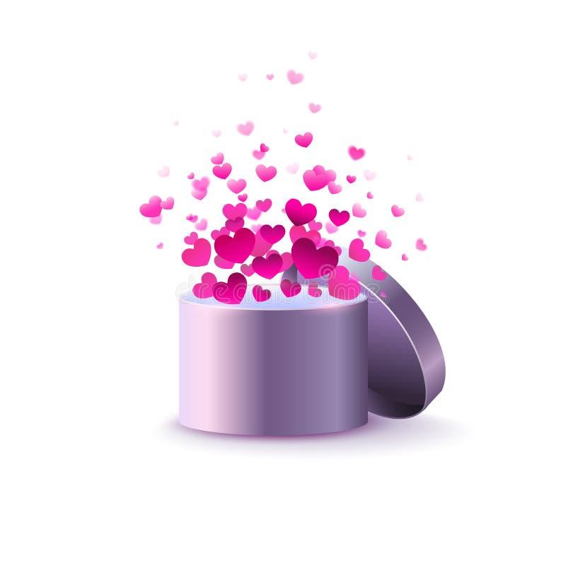 Boîte avec des coeurs sur un fond blanc coeurs d'explosion Vekt illustration libre de droits