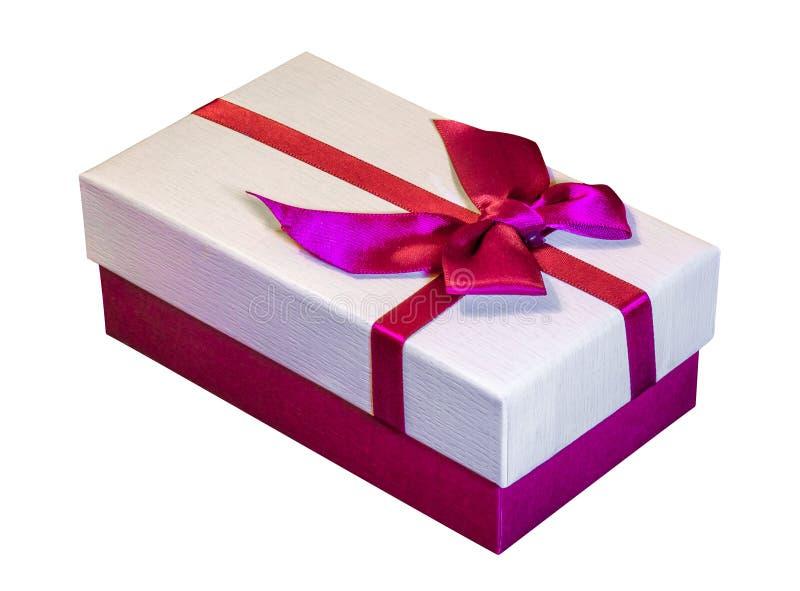 Boîte avec l'arc pour des cadeaux sur un fond d'isolement blanc Gifts_ de Noël et de nouvelle année image libre de droits