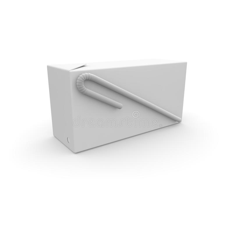 Boîte avec la paille pour le jus, le lait, le képhir et d'autres boissons sur le fond d'isolement blanc illustration de vecteur
