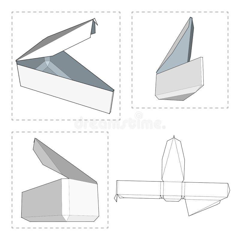 Boîte avec le calibre découpé avec des matrices illustration stock