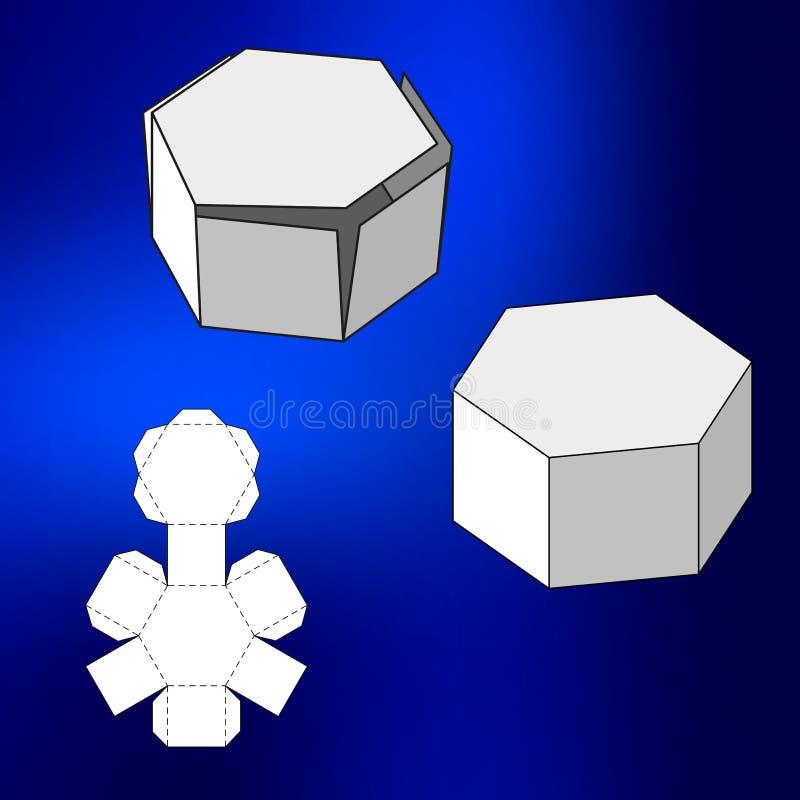 Boîte avec le calibre découpé avec des matrices Caisse d'emballage pour la nourriture, le cadeau ou d'autres produits Sur le fond illustration libre de droits