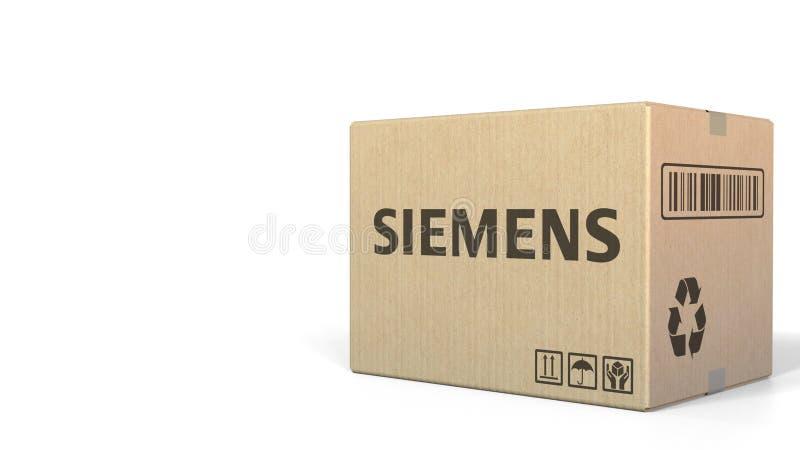 Boîte avec le logo de Siemens Rendu 3D éditorial illustration stock