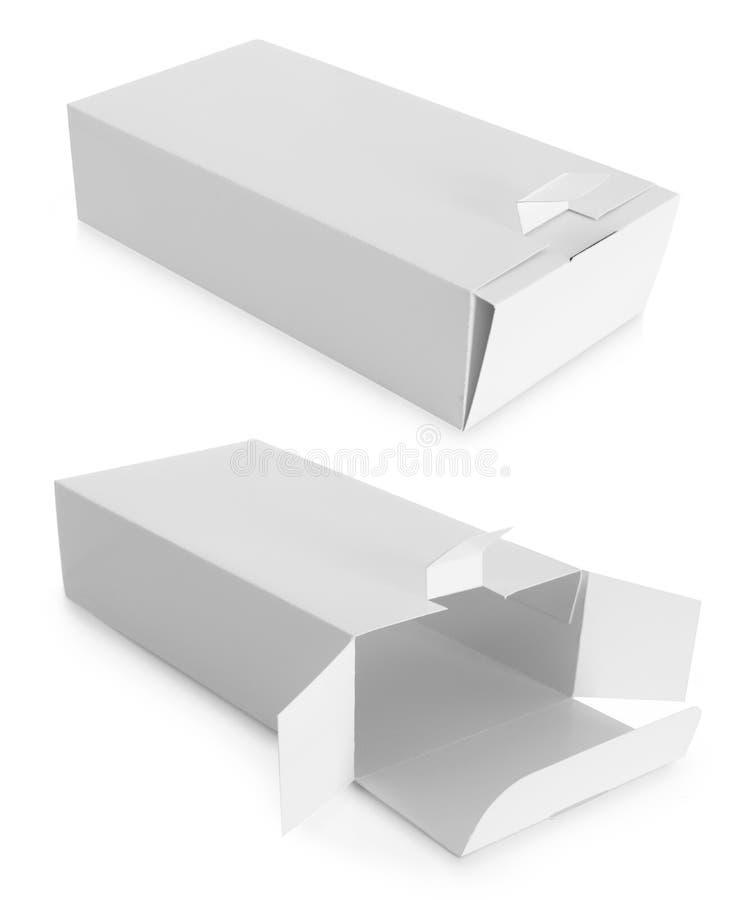 Boîte blanche de paquet pour des produits photographie stock