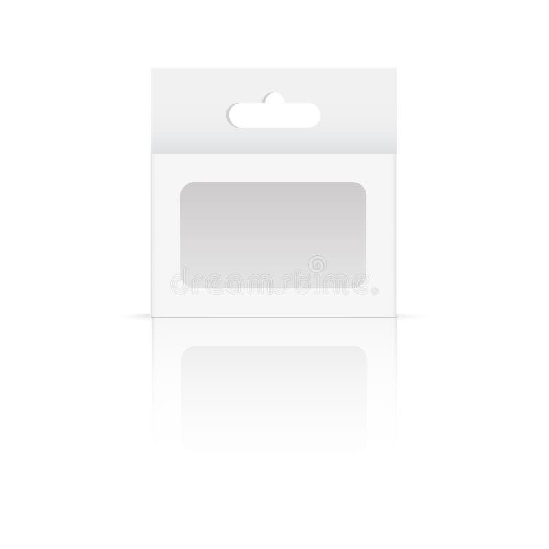 Boîte blanche de paquet de produit avec la fenêtre de Hang Slot et de plastique Voir les mes autres travaux dans le portfolio Vec illustration libre de droits
