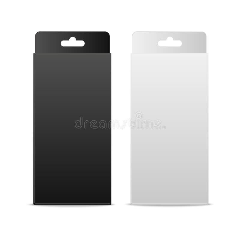 Boîte blanche et noire de paquet de produit avec Hang Slot Moquerie vers le haut du calibre prêt pour votre conception Vecteur illustration stock