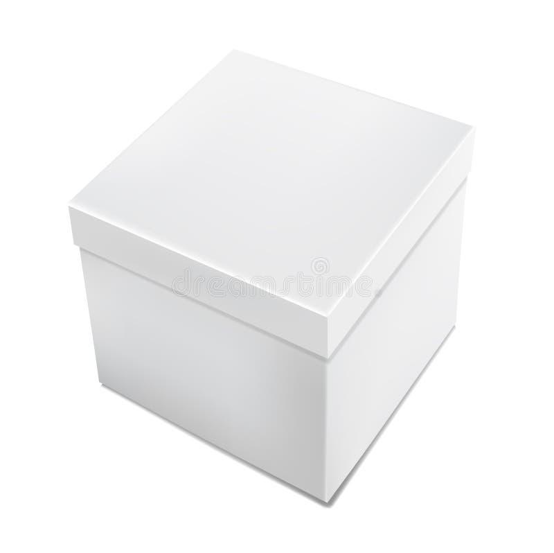 Boîte blanche réaliste d'emballage du vecteur 3d d'isolement illustration de vecteur