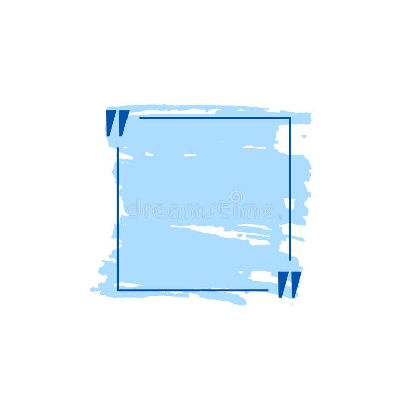 Boîte bleue de citation de vecteur avec les courses tirées par la main, calibre vide illustration stock