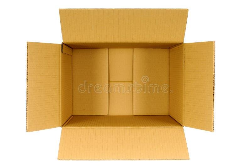 Boîte, boîte en carton vide vide brune simple ouverte de vue supérieure d'isolement sur le blanc image libre de droits
