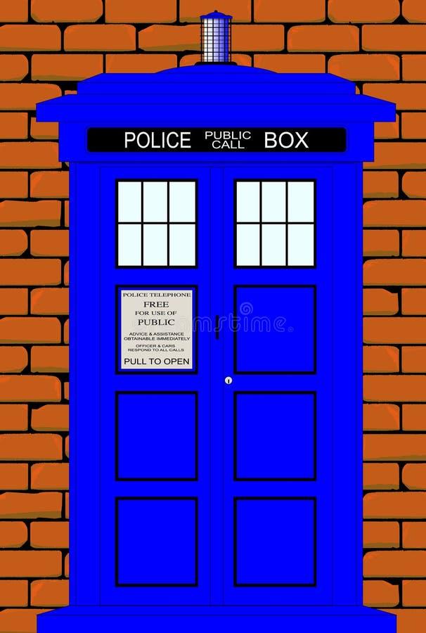 Boîte britannique traditionnelle réglée contre un mur de briques rouge illustration stock
