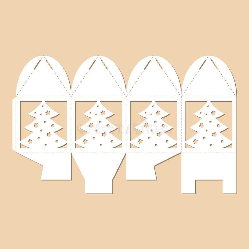 Boîte-cadeau à jour de cube avec l'arbre de Cristmas Modèle de bonbonniere du ` s de nouvelle année illustration de vecteur