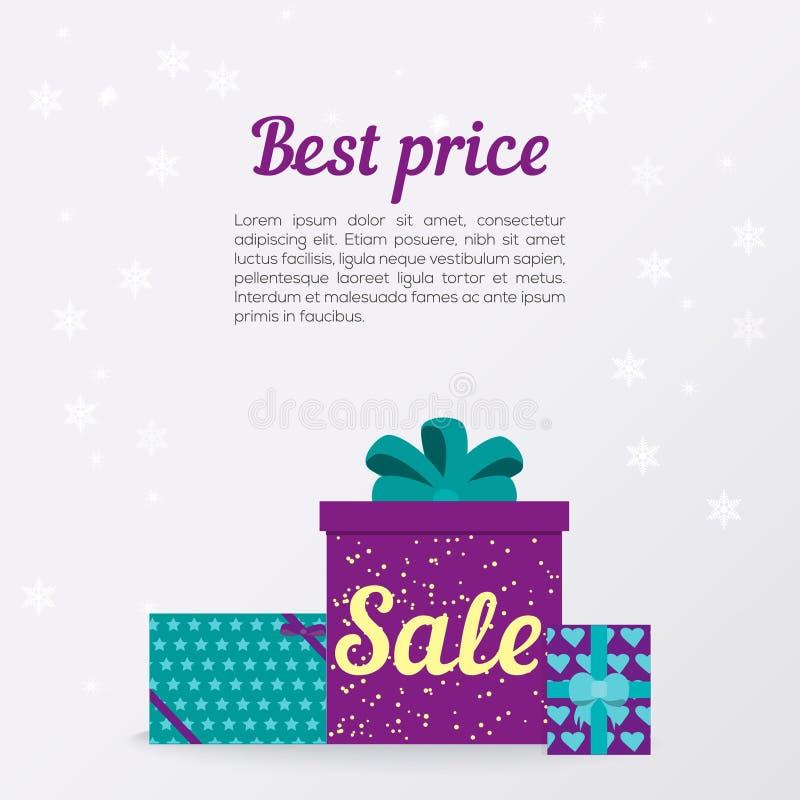 Boîte-cadeau élégant de Noël avec l'arc Conception plate photo stock