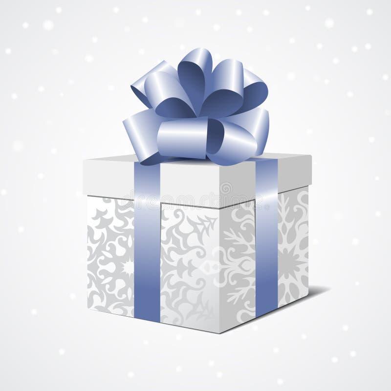 Boîte-cadeau argenté avec un arc bleu illustration de vecteur