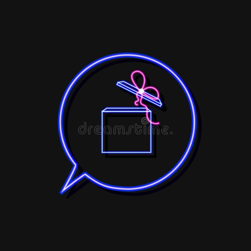 Boîte-cadeau au néon de vecteur dans le cadre bleu de bulle d'entretien d'isolement sur le fond noir, calibre d'icône illustration de vecteur