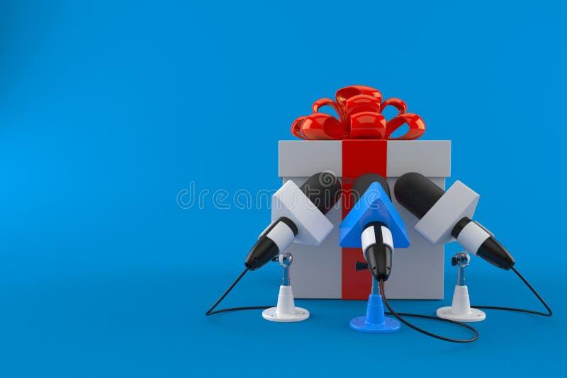 Boîte-cadeau avec des microphones d'entrevue illustration libre de droits