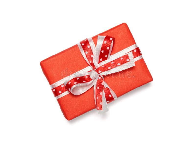 Boîte-cadeau avec l'arc de ruban image stock