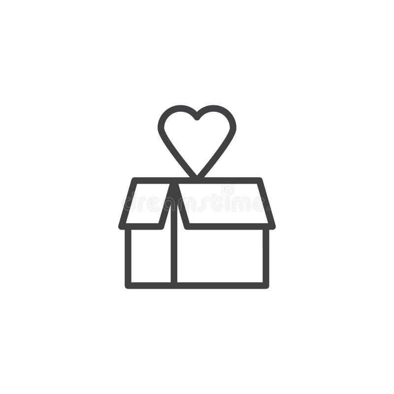 Boîte-cadeau avec l'icône d'ensemble de coeur illustration libre de droits