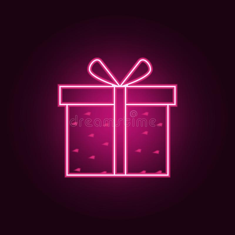 boîte-cadeau avec l'icône de coeurs Éléments de Valentine dans les icônes au néon de style E illustration de vecteur