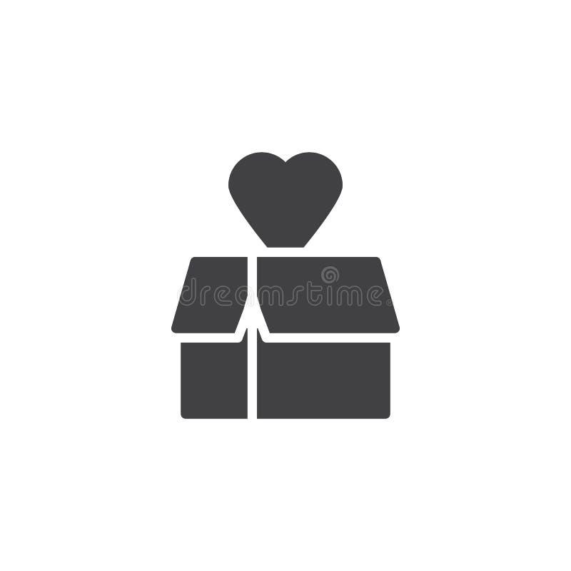 Boîte-cadeau avec l'icône de vecteur de coeur illustration de vecteur
