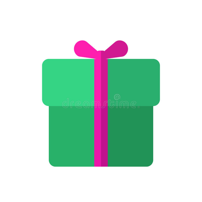 Boîte-cadeau avec l'icône plate de ruban, signe rempli de vecteur, pictogramme coloré d'isolement sur le blanc illustration de vecteur