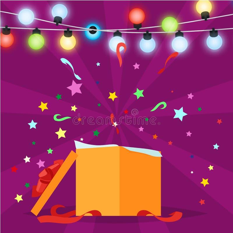 Boîte-cadeau avec l'illustration de vecteur de lumières de Noël illustration libre de droits