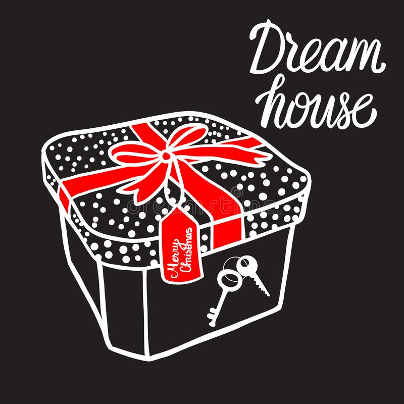 Boîte-cadeau avec la maison principale d'amour de maison rêveuse Illustration noire de vecteur de signe d'isolement sur le fond b illustration stock