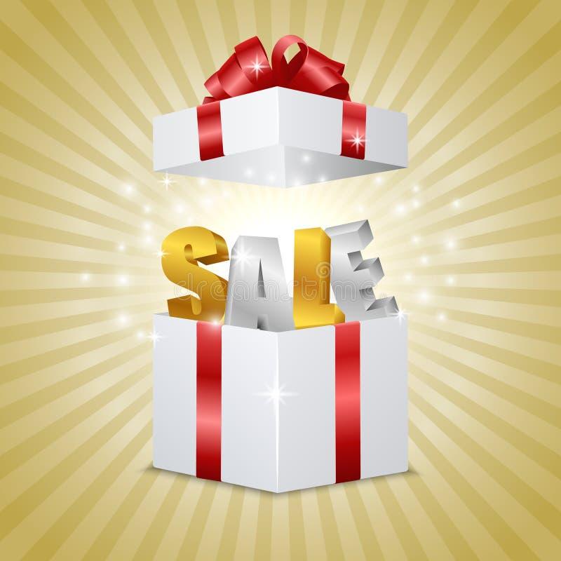 Boîte-cadeau avec la VENTE de lettres illustration stock
