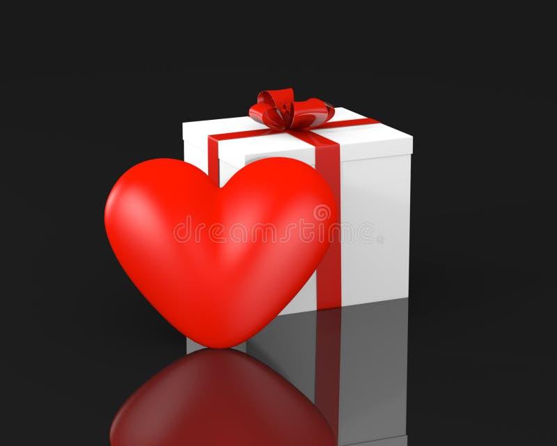 Boîte-cadeau avec le coeur illustration libre de droits