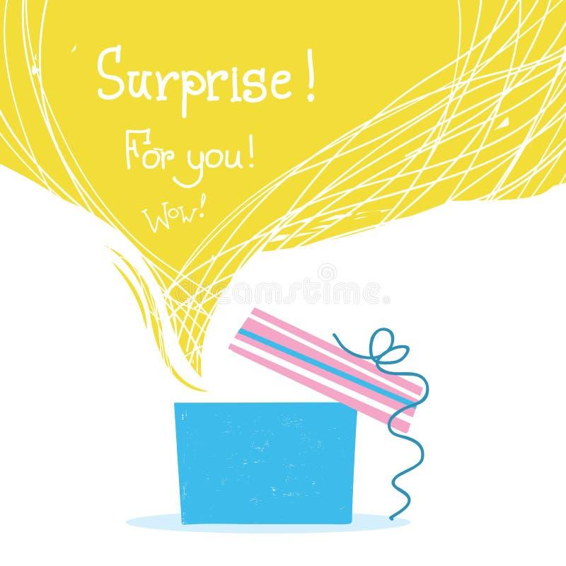 Boîte-cadeau avec le ruban et grand fond jaune de bulle pour le texte illustration libre de droits
