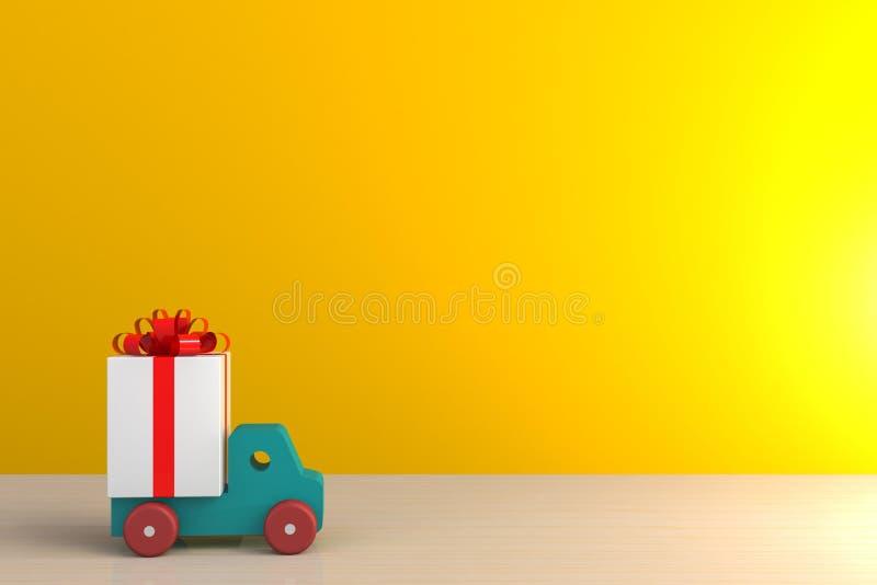 Boîte-cadeau avec le ruban rouge et voiture sur la table en bois, boîte-cadeau blanc sur le fond jaune de mur avec l'espace illustration stock
