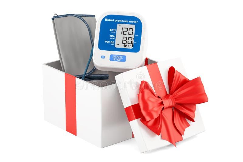 Boîte-cadeau avec le tonometer numérique, rendu 3D illustration libre de droits