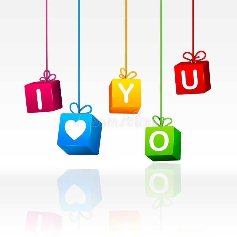 Boîte-cadeau colorés accrochants avec des mots lettrage illustration stock