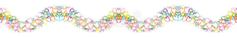 Boîte-cadeau colorés avec les rubans colorés Fond blanc long image stock