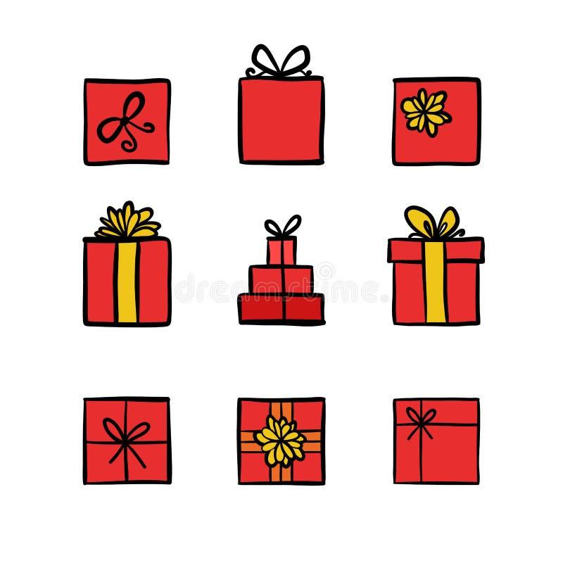 Boîte-cadeau colorés tirés par la main d'icônes de griffonnage illustration libre de droits