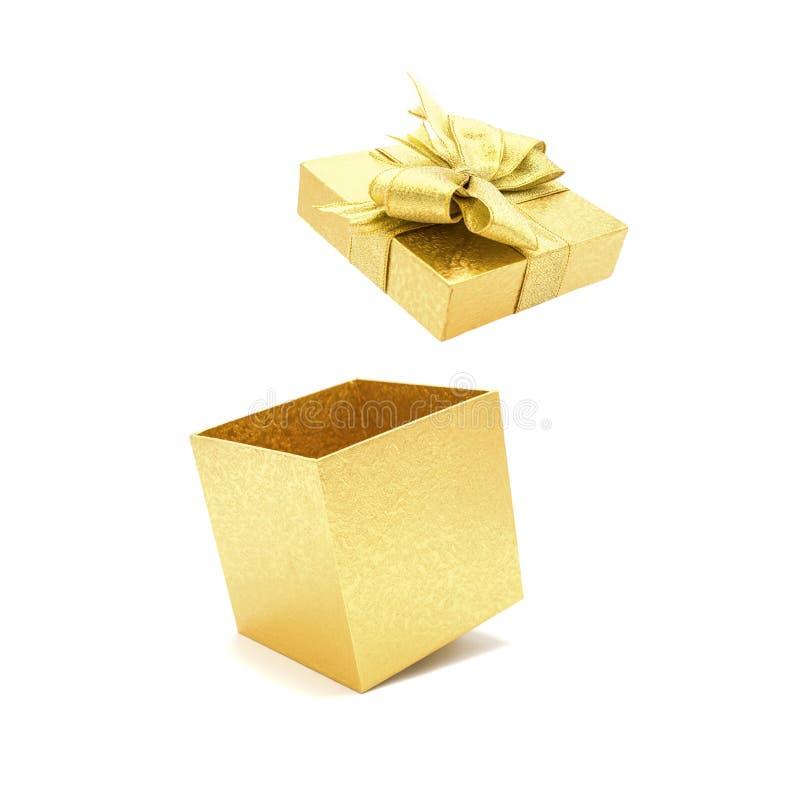 Boîte-cadeau d'or avec l'arc ouvert photo stock