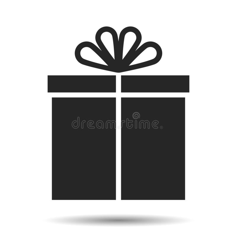 Boîte-cadeau d'icône d'amusement avec l'arc d'amusement Présent photo stock