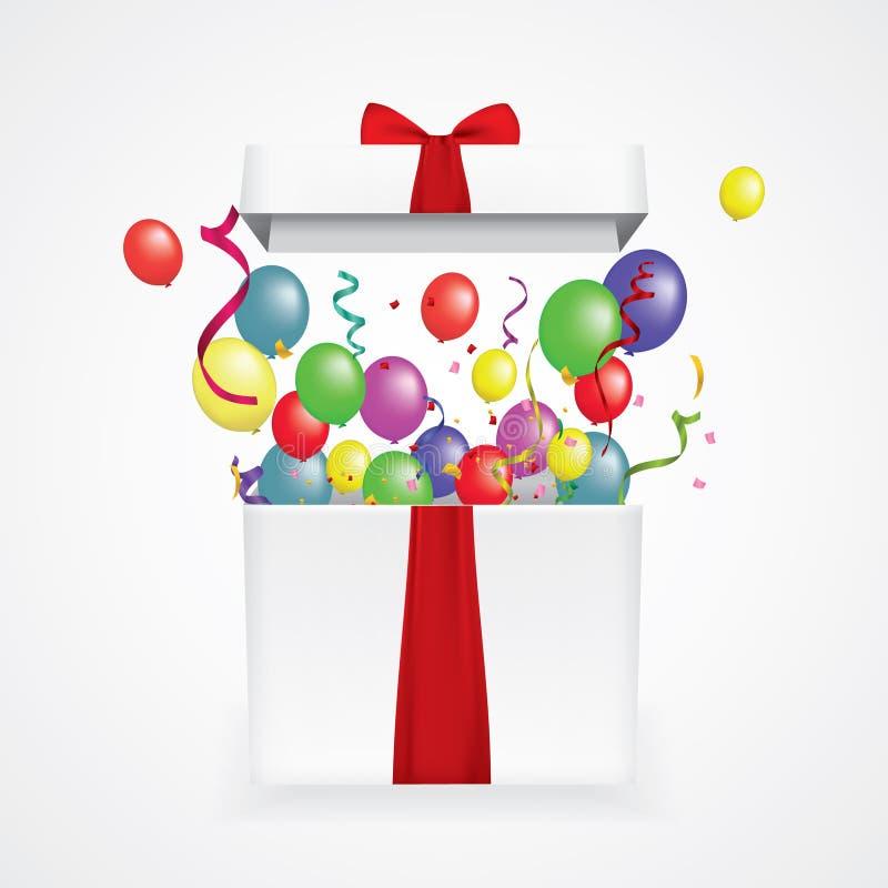 Boîte-cadeau 3d réaliste ouvert avec des confettis et des boules Illustration de vecteur surprise image libre de droits