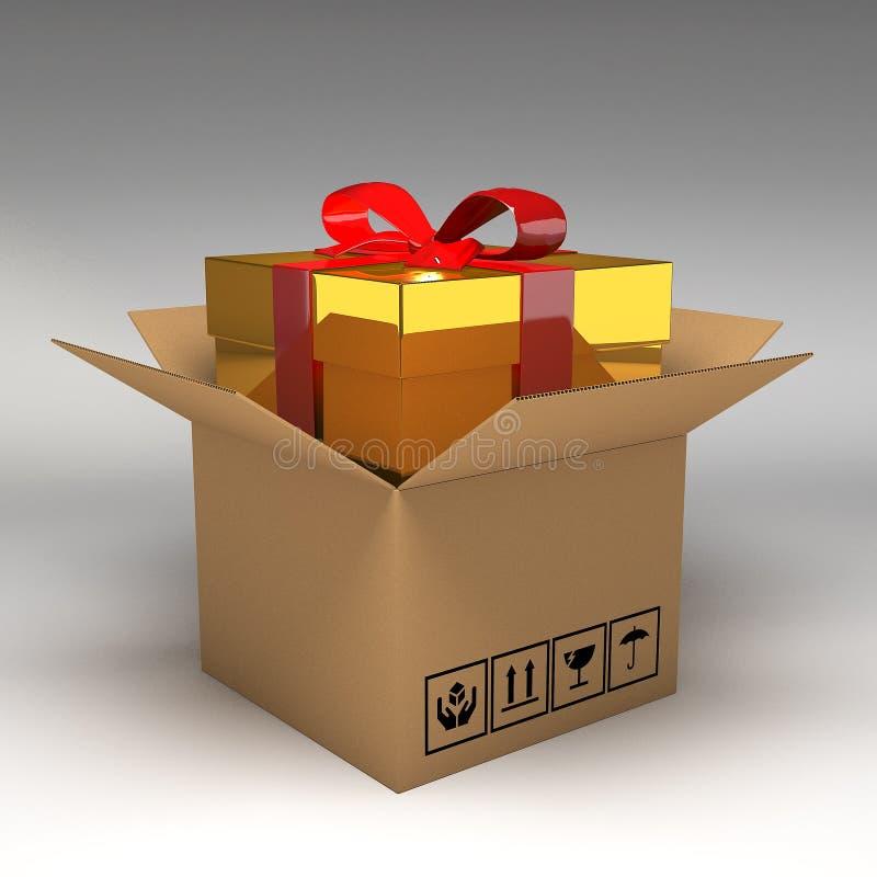 Boîte-cadeau dans des boîtes en carton illustration stock