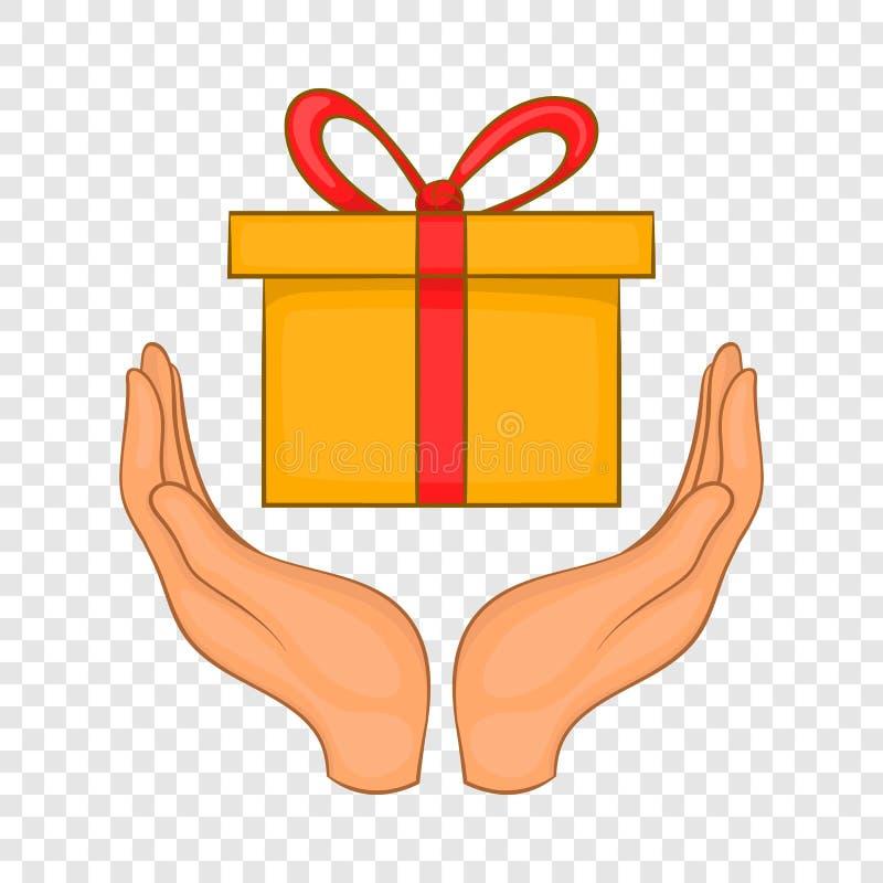 Boîte-cadeau dans des mains icône, style de bande dessinée illustration de vecteur