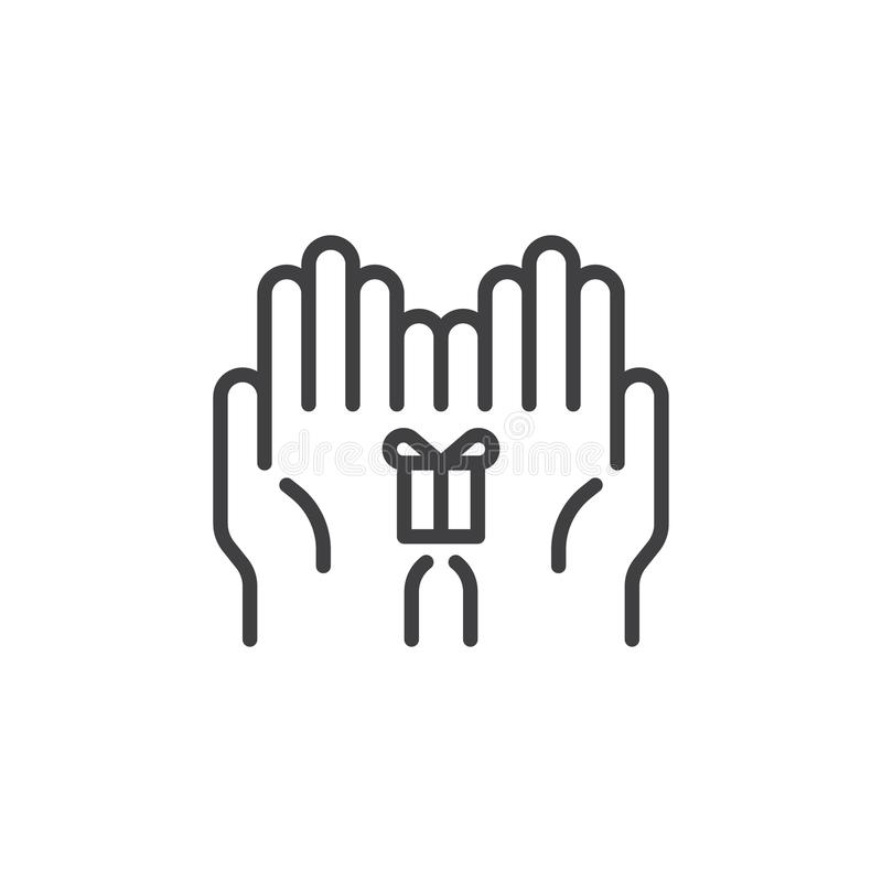 Boîte-cadeau dans l'icône d'ensemble de mains illustration stock